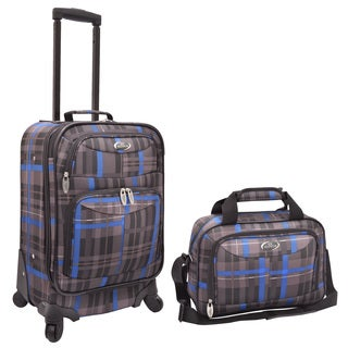 U.S. Traveler Grey/ Blue Plaid 2-piece Expandable Carry On Spinner Luggage Set