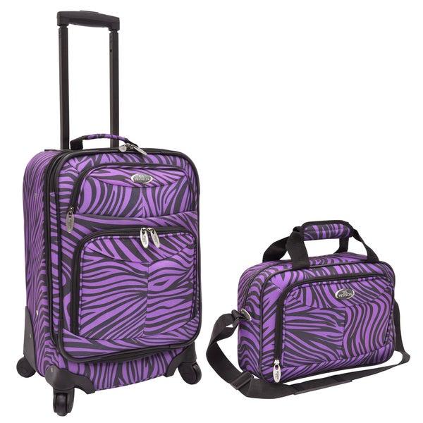 U.S. Traveler Purple Zebra 2-piece Expandable Carry On Spinner Luggage Set