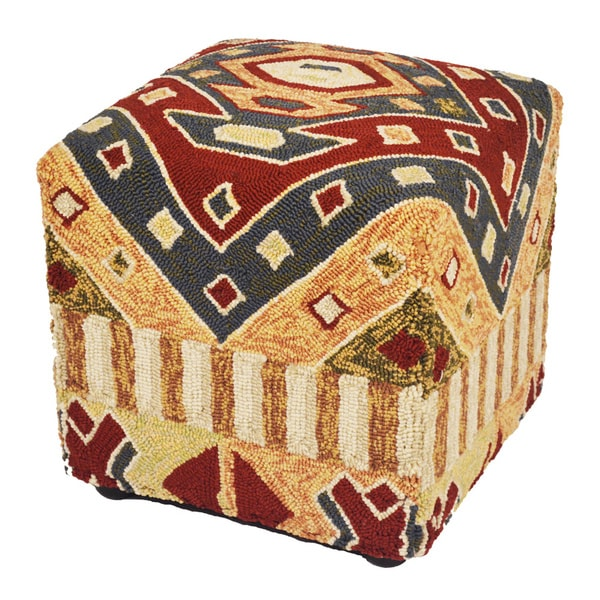 "South Beach Indoor/Outdoor Multi/Black 18"" Ottoman"