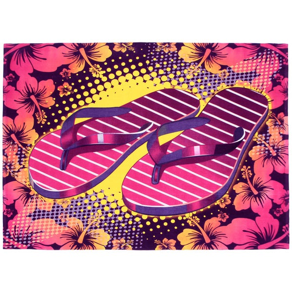 Flip Flop Cotton Beach Towel-for-Two