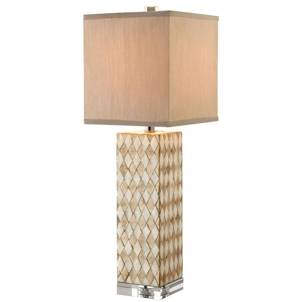 Whitby Abbey Natural Shell Square-shade Table Lamp