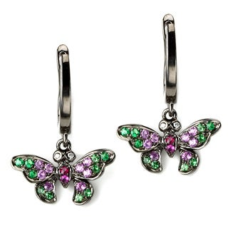 Soho Boutique by Neda Behnam 18k Black Gold Butterfly Gemstone and Diamond Accent Earrings