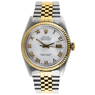 Pre-owned Rolex Men's Two-tone Datejust White Dial Watch
