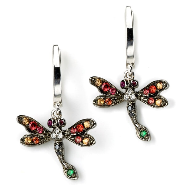 Soho Boutique by Neda Behnam 18k Two-tone Gold Multi-colored Gemstone and Diamond Accent Dragonfly Dangle Earrings