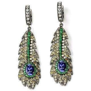 Neda Behnam 18k Black Gold 1 3/4ct TDW Diamond and Multi-gemstone Feather Earrings (H-I, SI1-SI2)