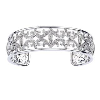 Sterling Silver 1/10ct TDW Diamond Cuff Bracelet (H-I, I2-I3)