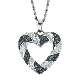 SilverMist Sterling Silver 1/4ct TDW Grey Diamond Heart Necklace