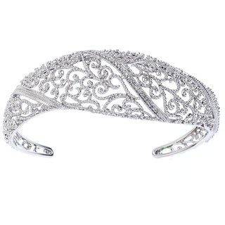Sterling Silver 1/10ct TDW Pave-set Diamond Filigree Cuff (H-I, I2-I3)