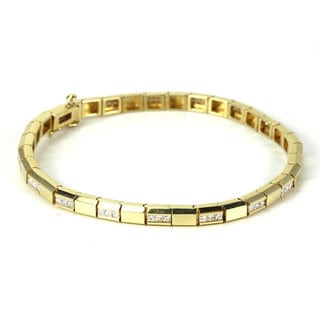 Sonia Bitton 14k Yellow Gold 2 1/5ct TDW Princess Diamond Link Bracelet (H-I, VS1-VS2)