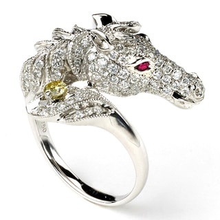 Neda Behnam Soho Boutique 18k White Gold 1 1/5ct TDW Diamond and Ruby Horse Ring (H-I, SI1-SI2)