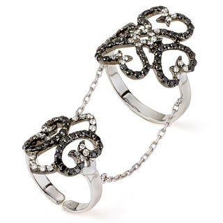 Neda Behnam 18k White Gold 1 3/8ct TDW Black Diamond Chain Knuckle Ring