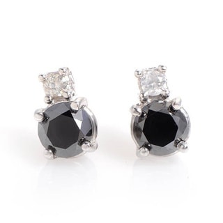 14k White Gold 1ct TDW Black/ White Diamond Stud Earrings (H-I, SI1-SI2)