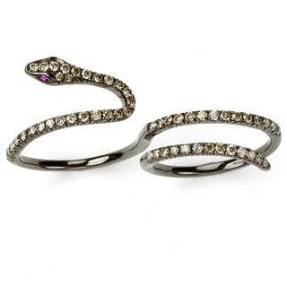 Neda Behnam 18k Rose Gold 4/5ct TDW Brown Diamond and Ruby Two Finger Knuckle Snake Ring