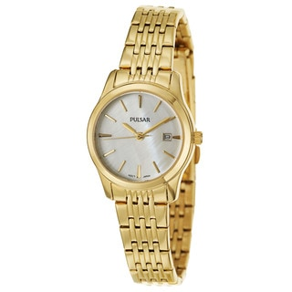 Pulsar Women's PH7232 'Easy Style' Yellow Gold Plated Stainless Steel Japanese Quartz Watch