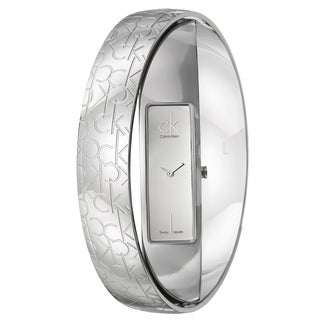 Calvin Klein Women's K5023416 'Element Double Bangle Monogram' Stainless Steel Swiss Quartz Watch