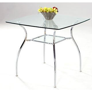 Square Glass Top Metal Dining Table