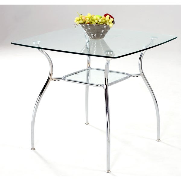Somette 34 Inch Square Glass Top Metal Dining Table