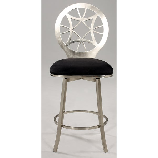 Somette Laser Cut Round Back Memory Swivel Bar Stool