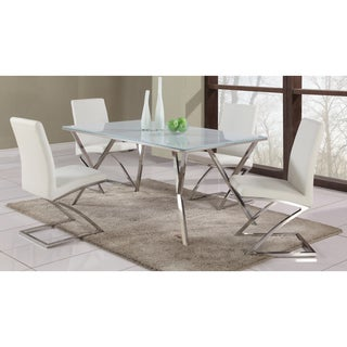 Somette White Starphire Glass Dining Table