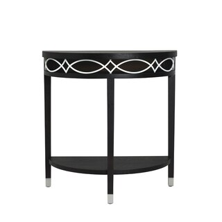 Elements Black and White Metal Demilune Table