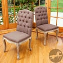 Christopher Knight Home Tufted Fabric Weathered Hardwood Dining Chairs (Set of 2)