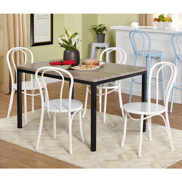 5 Piece Vintage Dining Set White Chairs Table Room Piece