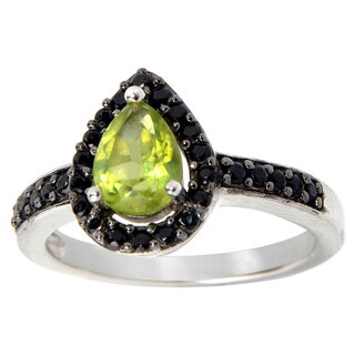 Sterling Silver Peridot and Black Spinel Aura Ring