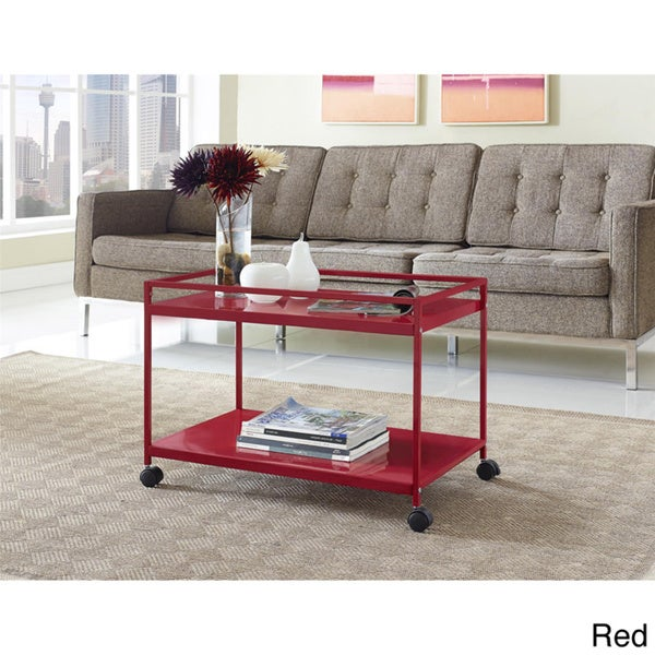 altra marshall 2 shelf rolling coffee table cart. Black Bedroom Furniture Sets. Home Design Ideas