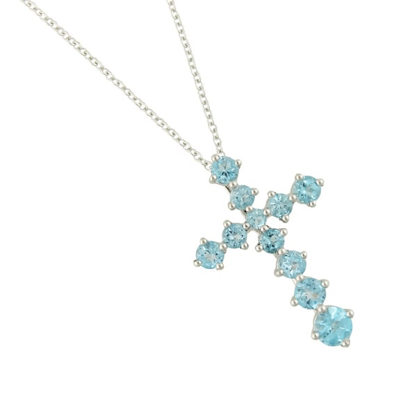Sterling Silver Round-cut Swiss Blue Topaz Cross Pendant Necklace