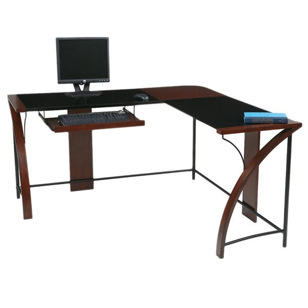 home office glass top corner desk wiith l shape