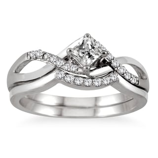 10k White Gold 3/8ct TDW Princess-cut Diamond Bridal Set (I-J, I1-I2)