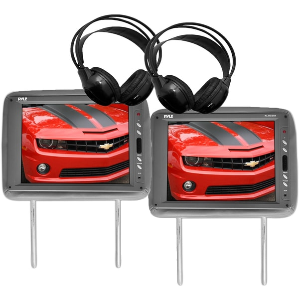 Pyle 11.3-inch Headrests TFT LCD Monitors with IR Transmitter and Wireless Headphones (Set of 2)