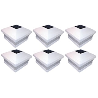 Tricod White Sun-powered LED Square Post Fence Mount (Pack of 6)