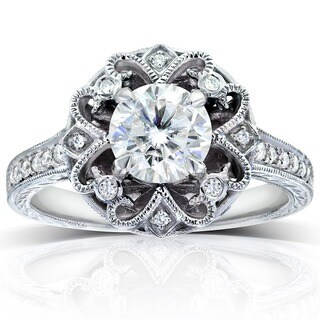 Annello 14k White Gold 1 1/5ct TDW Round-cut Diamond Antique Engagement Ring (H-I, I1-I2)