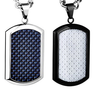 Crucible Stainless Steel Blue or White Carbon Fiber Dog Tag Pendant Necklace