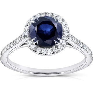 Annello 14k White Gold Round Blue Sapphire and 1/4ct TDW Diamond Halo Ring (G-H, I1-I2)