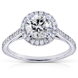 Annello 14k White Gold 1 1/4ct TDW Round-cut Diamond Halo Engagement Ring (G-H, I1-I2)