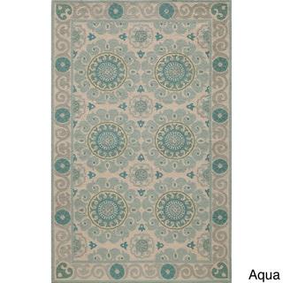 Uzbek Vibes Aqua Hand-Hooked Wool Indoor Rug (5' x 8')