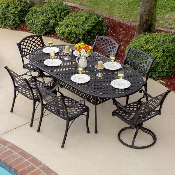 heritage bronzetone cast aluminum 7 piece patio dining set