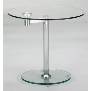 Round Glass/ Chrome Lamp Table