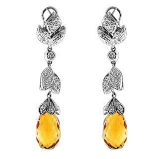Sonia Bitton 14k White Gold 1 1/3ct TDW Diamond and Briolette Citrine Dangle Earrings (G-H, SI1-SI2)