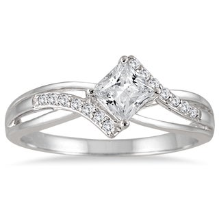 Marquee Jewels 10k White Gold 1/2ct TDW Princess-cut Diamond Ring (H-I, I1-I2)