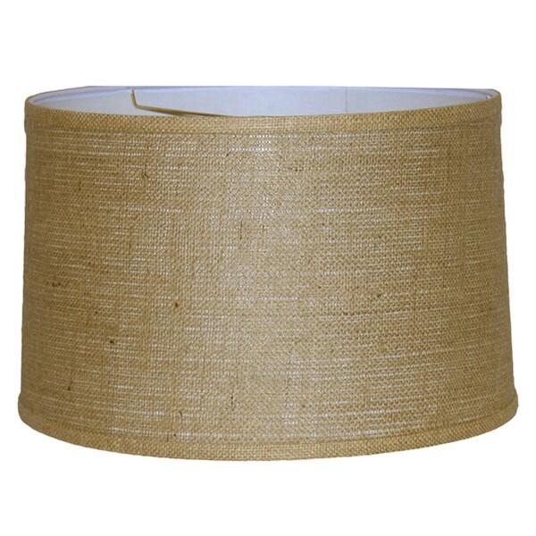 Brown Burlap Wide-width Drum Shade