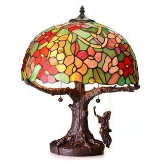 Warehouse of Tiffany Lady on a Tree Swing Tiffany-style Desk Lamp
