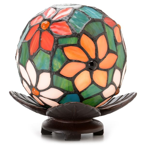 Warehouse of Tiffany Floral Ball Art Glass Table Lamp