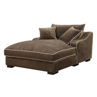 Emerald caresse mocha down filled chaise lounge for Bella flora double chaise lounge