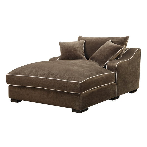 Emerald caresse mocha down filled chaise lounge 16251287 for Bella chaise dark brown