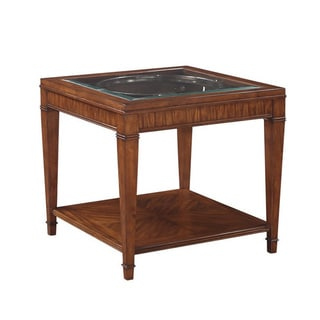 Emerald Contemporary Square End Table with Glass Top