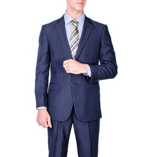 Men's Modern Fit Navy Blue Tonal Stripe 2-button Suit