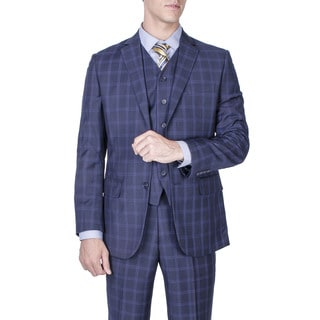 Men's Modern Fit Navy Blue Windowpane 2-button Vested Suit
